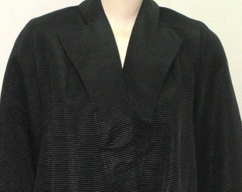 SWEETHEART SALE Vintage 1950's Mar-Del Modes Size 10 Swing Coat Jacket Grossgrain Black Medium