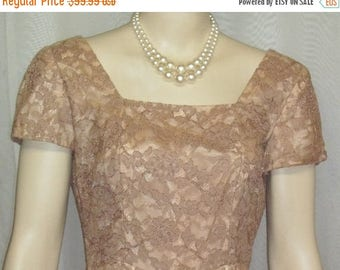ON SALE Vintage 1940's Norman Original Lace Overlay Cocktail Dress Beige Nude Small Medium