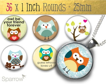 Cute Owls Collage - One Inch (25 mm) Pendant Images - Digital Download - 1x1 Inch Rounds - Instant Download - Bottle Caps, Magnets Images