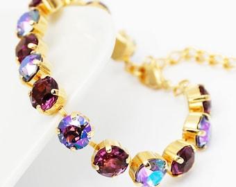 Bracelet Gold, Swarovski Eggplent Purple Rhinestone Bracelet Swarovski Elements, Tennis Bracelet, Bridal Bridesmaids Wedding