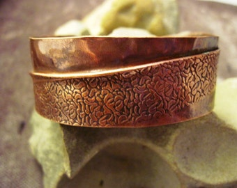 Tribal Organic Copper forged fold form wide bracelet