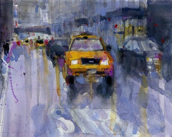 Original Print  OR Original Watercolor -  TaxiCab - NYC - Cityscape