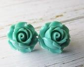Mint Green Rose Stud Post Earrings