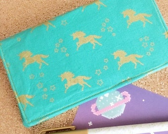 Turquoise / Blue and Gold Unicorn Checkbook Cover