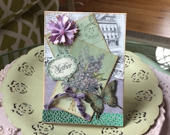 Purple Card Mom - Butterfly Card Mom - Handmade Birthday Mom