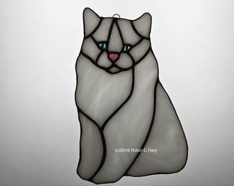 White Cat Suncatcher in Stained Glass