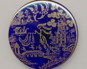 Large Cobalt Blue Glass Blue Willow Pattern Czech Glass Asian Transfer Button With Gold Luster   - 1 5/8 Inch Diameter