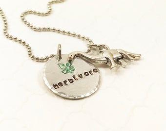 Vegetarian or Vegan Necklace - Herbivore Dinosaur Jewelry - Herbivore Necklace - Cute Herbivore - Hand Stamped Necklace - Custom Necklace