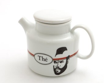 Mr. The teapot - Mr. Tea - Mr. T tea for one with french spelling of tea - upcycled small teapot