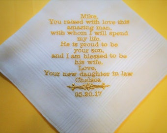 Personalized FATHER of the GROOM from BRIDE embroidered wedding men's handkerchief thank you present gift father in law daughter in law
