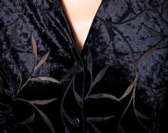 30% off SPRING SALE The Vintage Black Velvet Burnout Button Up Blouse