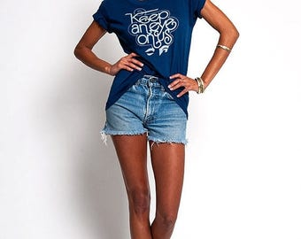 """35% OFF SPRING SALE The Navy Blue """"Keep An Eye On Us"""" 50/50 TShirt"""