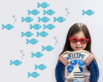 Ocean Baby Fish Wall Decals, Kids Underwater Nursery: SWIM RIGHT