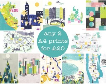 Any 2 A4 Art Prints / Digital Art Prints / Wall Art / A4 print