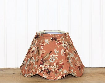 Floral Lamp Shade - Vintage Fabric - Waverly - Shabby Chic - Romantic Home - Lampshade - Scallop Lamp Shade - Clip On - Table Lamp Shade