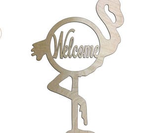 Unfinished Wood Flamingo Welcome Monogram 23 inch Door Hanger Wall Decor