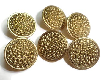12 Gold Metal Vintage Buttons - Rope Texture Blazer Coat 3/4 inch 19mm for Jewelry Beads Sewing Knitting