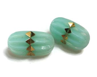 Aqua Glass Vintage Buttons - 2 Antique 1940s Oval for Jewelry Supplies Beads Beading Sewing Knitting