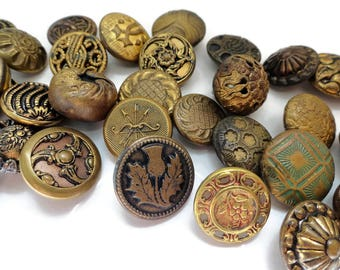 37 Antique Gold Metal Buttons Victorian 1800s to 1940 Vintage for Jewelry Supplies Beads Sewing Knitting Steampunk