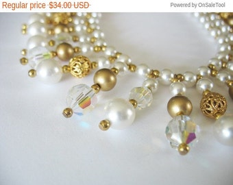 Holiday Sale Beaded Bib Necklace Fringe Faux Pearls Glass AB Goldtone Filigree 1950's