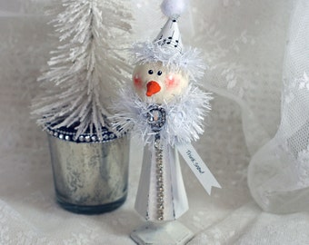 Vintage Silver Plate Shaker Snowman Holiday Decoration Snowflake Jester Think Snow!