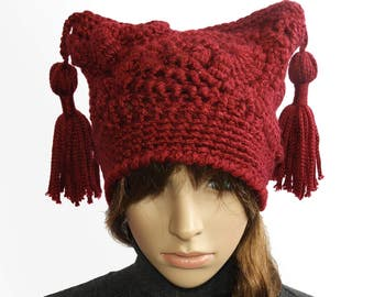 Red Jester Hat Beanie, Womens Ruby Red Freeform Crochet Beanie OOAK Crochet Hat with Chunky Tassels, Wearable Art