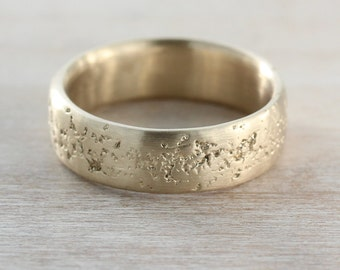 READY TO SHIP 6mm Concrete Band - 10k Yellow Gold, Size 9.5 - Cement Textured Gold Men's Ring - Rustic, Cement, Raw, Rough, Lava Rock
