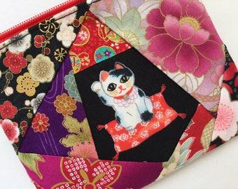 Maneki-Neko Zipper Pouch / Coin Pouch - Blossom