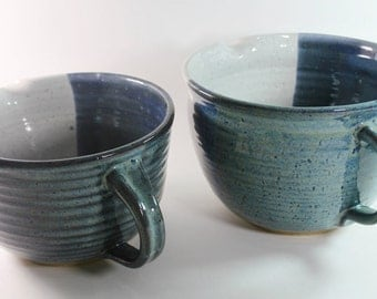 Ceramic Batter Bowl - Mixing Bowl -Kitchen Prep Bowl in Blue and White - This is a Second! IN STOCK