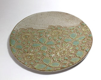 Bridges Pottery Decorative Cheese Plate  Specialty- Serving-Plate- Breen or  Blue  IN STOCK