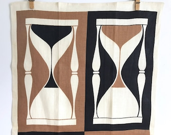 Vintage Dish Towel Hourglasses Brown Black Cream Martex Screen Print