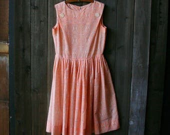 Sleeveless Dress Middie 1950s to 60s Orange Creamsicle Color Alison Ayers Vintage From Nowvintage on Etsy