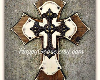Wall Cross - Wood Cross - Medium - Antiqued Stain & Beige with iron cross