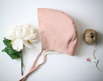 Linen Bonnet, Baby Bonnet, Pink Linen Bonnet, Photography Prop, Baby Hat, Linen Hat, Newborn Hat, Pink Baby Bonnet