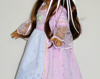 Princess style Pink eyelet Colonial dress, 2 pc. fits American Girl 18 in. dolls. Created for Elizabeth or Felicity  No.695