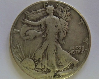 Vintage 1943P Walking Liberty Half Dollar, Walking Liberty 50 Cent Piece, Collectable Half Dollar, Silver Coins, USA Coins
