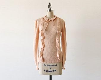 Vintage 1980s Blush Pink Long Sleeve Acrylic Sweater - S
