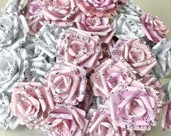 50 Pink and White Sheet Music Paper Roses