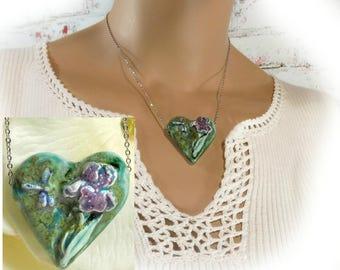 Heart necklace - Iris necklace -  unique necklace - Pendant necklace - one of a kind necklace - gift necklace  # 119