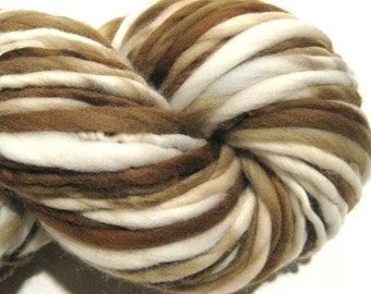 Super Bulky Handspun Yarn, Latte 114 yards, hand dyed merino wool, brown white ecru yarn waldorf doll, knitting supplies, crochet supplies