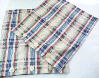 Vintage Pillowcase, Button Pillowcase, Sofa Pillow Covers, Two Pillow Covers, Home Decor, Stripe Pillow Covers, Bed Pillow Covers, Handmade