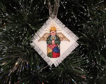 Patchwork angel ornament- cross stitch