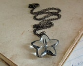 Glass Button Necklace Vintage Jewelry Star Shaped