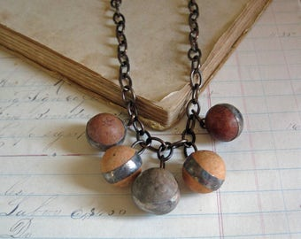 Vintage Clay Marble Necklace Rustic Jewelry