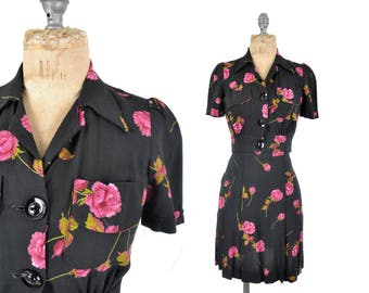 """30s 40s swing skirt suit / black and pink skirt suit / 1930s or early 1940s peony floral skirt set .. XXS / 22"""" waist"""