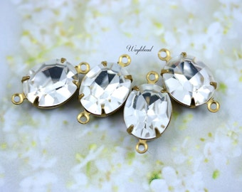 Preciosa Crystal Clear Glass Oval Stones 12x10mm Brass Prong Settings - 2