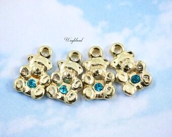 Swarovski Gold Plated Teddy Bear Charm Pendant Blue Zircon Crystal - 2pcs