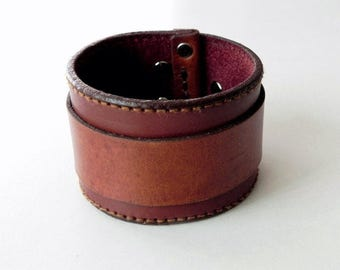 Tan Leather Wide Cuff Leather Bracelet Leather Bangle Hand with snap button