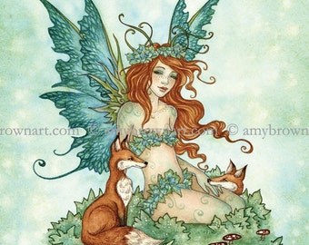 5x7 Fox Friends fairy and foxes PRINT by Amy Brown