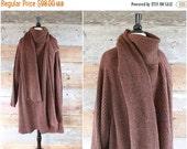 SALE wool sweater coat | 1980s brown wool blanket wrap jacket | size xxl - xxxl